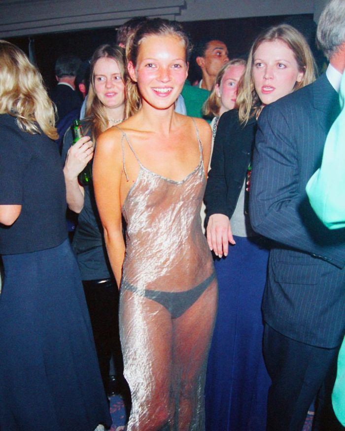 90's Icon Kate Moss Rocking A Transparent Slip Dress In 1993
