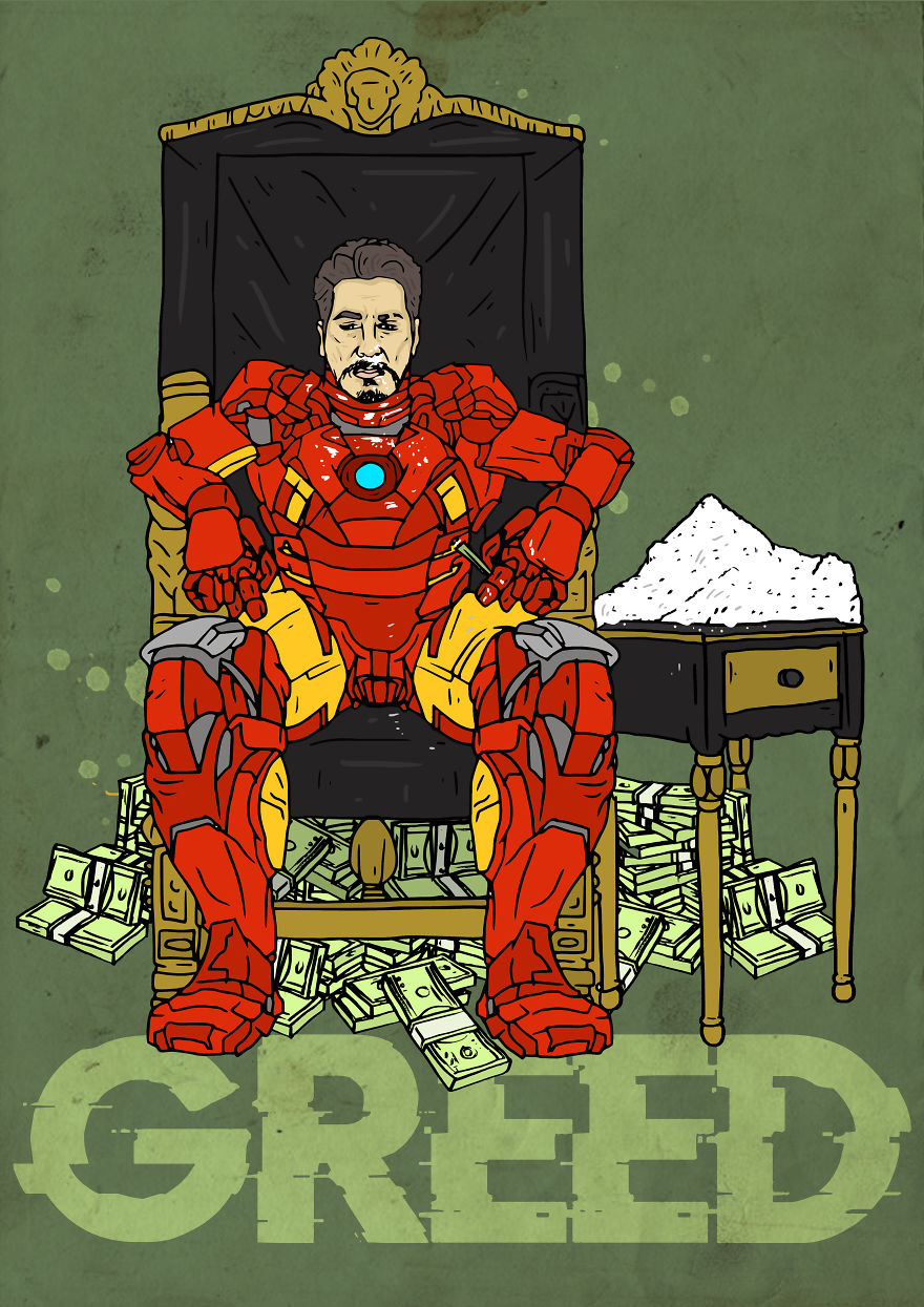 """Hero To Zero"" - I Drew These Superheroes As The Deadly 7 Sins..."