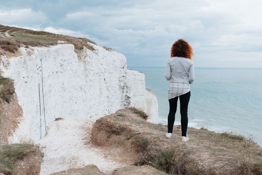 White Cliffs, Dover, The U.k., 2017 It's The Very Edge Of The Cliff And I'm Scared Shi... Well Like Really Scared.