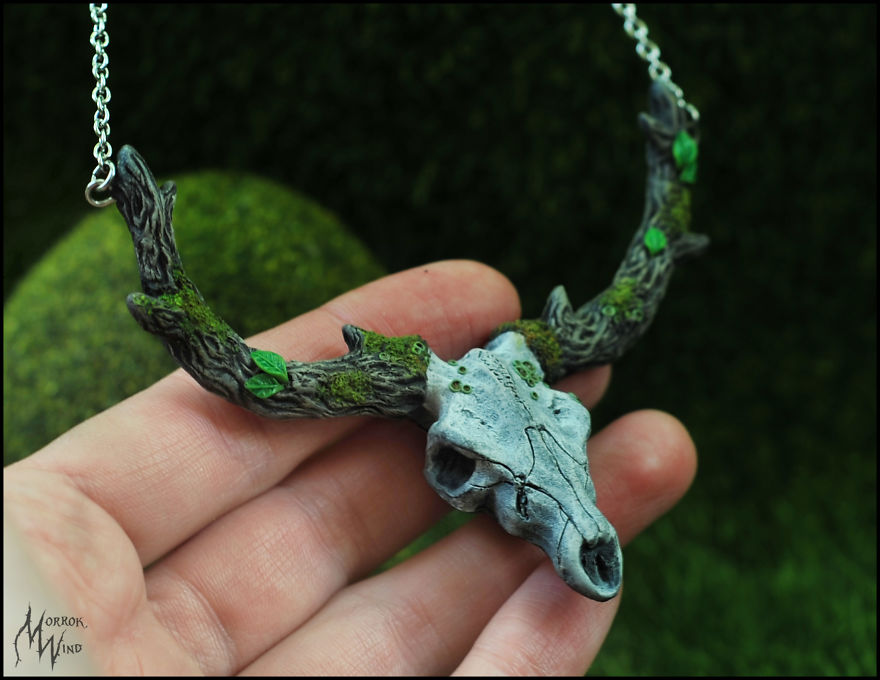 Miniature Deer Skulls Necklaces Made Of Polymer Clay