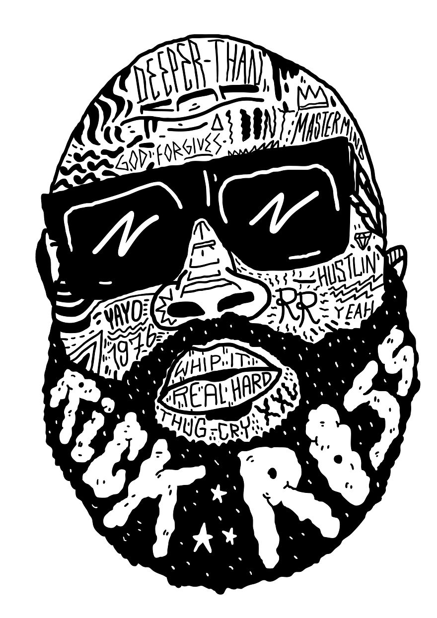 I Drew Famous Rap And Hip Hop Icons Using The Song Lyrics
