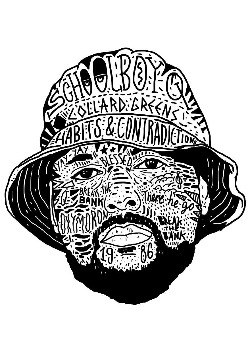I Drew Famous Rap And Hip Hop Icons Using The Song Lyrics Bored Panda