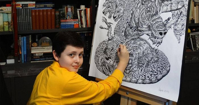 15-Year-Old Boy Prodigy Creates Animal Drawings From Memory