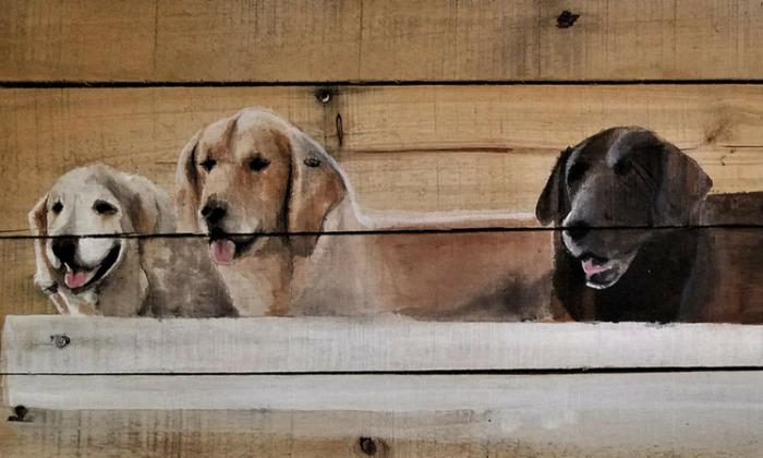 I Hand Paint Pet Portraits On Rustic Reclaimed Barn Wood