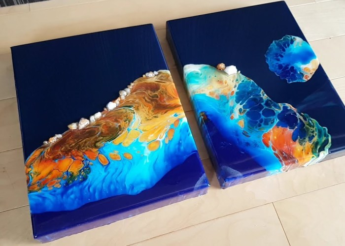 Fluid Paintings Created By Pouring Acrylic Paints On Resin