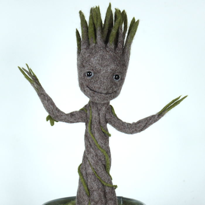 Dancing Groot In A Pot: Needle Felted Figurine