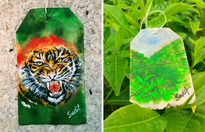 Artist Shows The Beauty Of His Country By Using Recycled Teabags