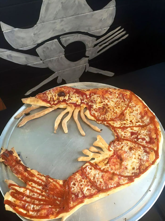 Pizza Place On The Island Where I Live Is Making Shrimp-Shaped Pizzas During Our Town's Annual Shrimp Festival