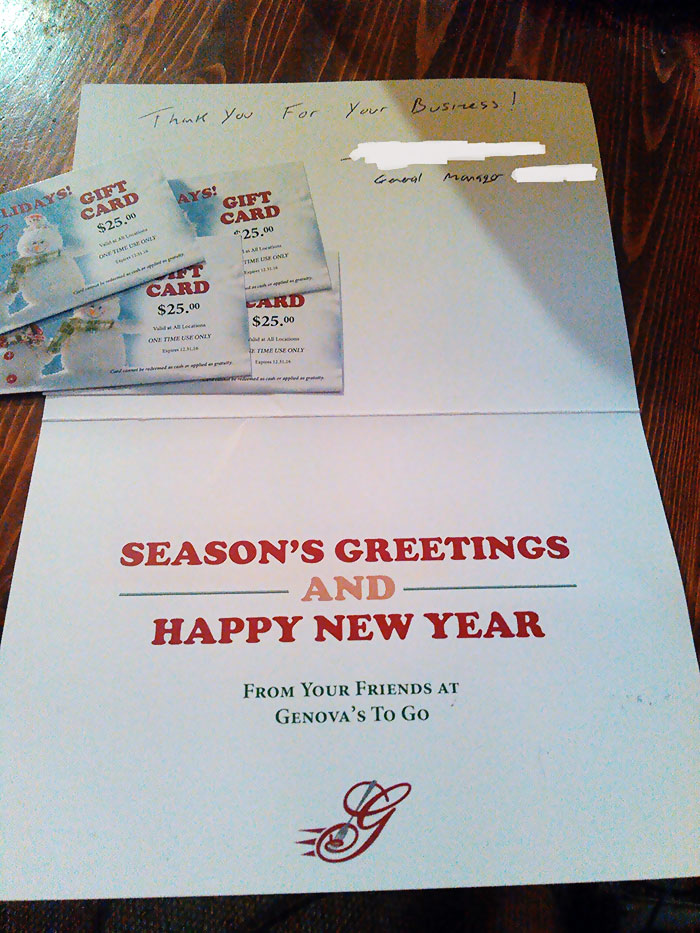 My Uncle Has Ordered So Much Pizza, That They Ended Up Sending Him A Christmas Card