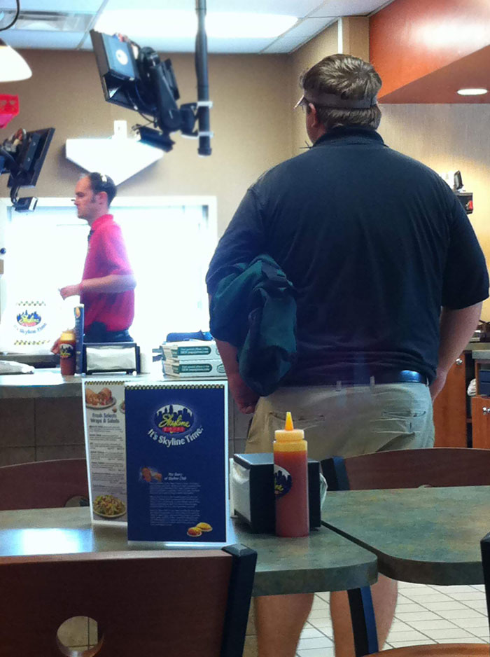 Was Eating My Dinner At Skyline When A Pizza Man Walked In And Delivered Two Pies In Exchange For 15 Cheese Coneys. No Money Was Exchanged