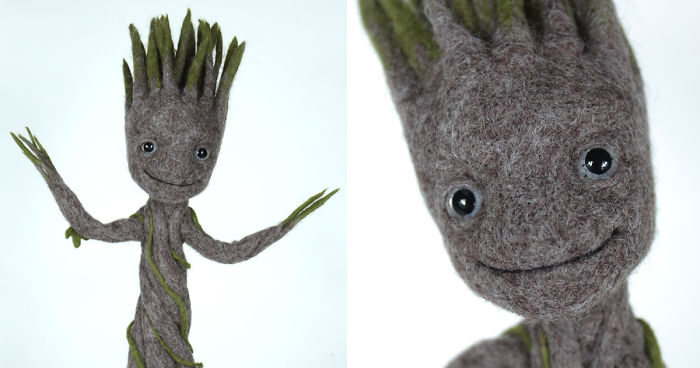 Dancing Groot In A Pot Needle Felted Figurine Bored Panda