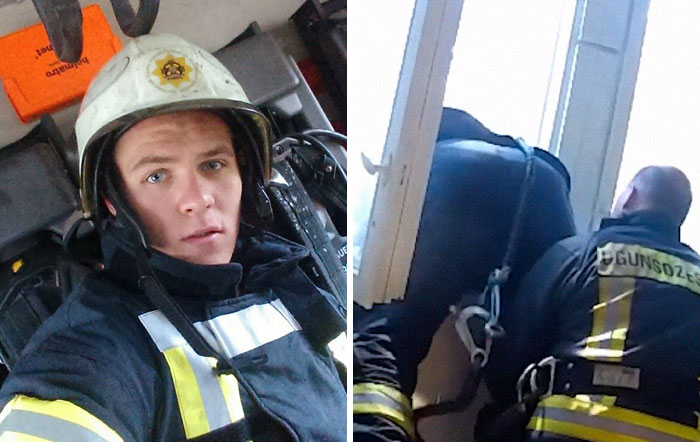 The Way This Latvian Fireman Catches A Suicidal Woman Falling To Her Death Stuns The Internet