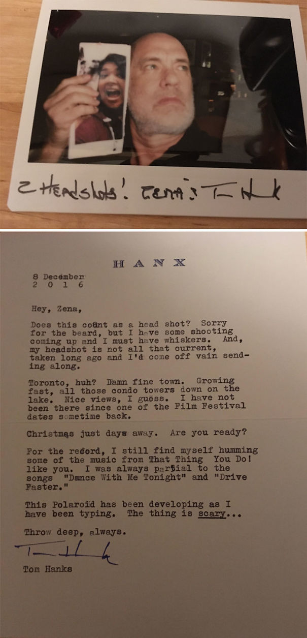 My Friend Sent Some Fan-Mail To Tom Hanks On A Whim. The (Quick!) Reply She Got Was...