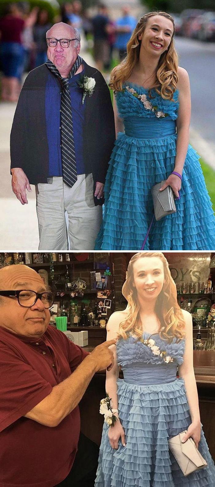 Esta chica llevó una silueta de Danny DeVito a su graduación, y Danny DeVito llevó una silueta de ella al pub