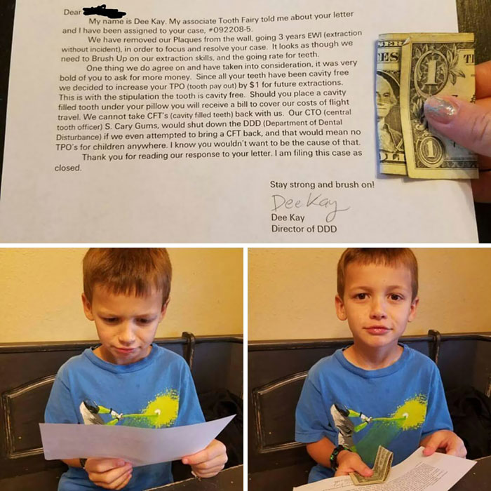 A Friend's Son Got $1 From The Tooth Fairy A Couple Days Ago. He Wrote Her A Letter Asking To Upgrade His $1 To $5. This Was The Tooth Fairy's Response