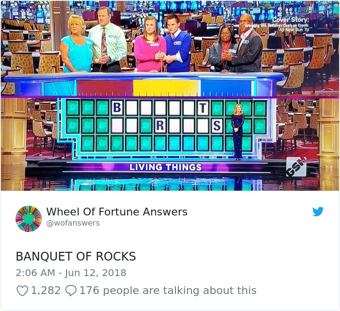 Someone's Tweeting Their 'Wheel Of Fortune' Answers And They're Hilariously Wrong
