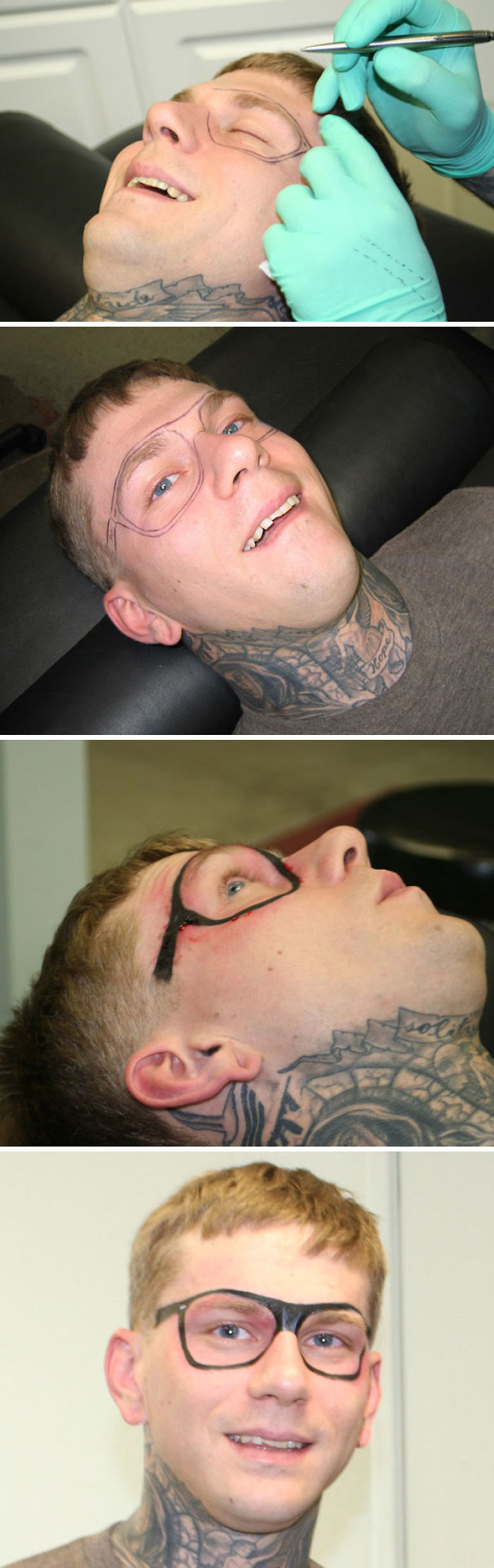 This Guy Got A Sunglasses Tattoo On His Face