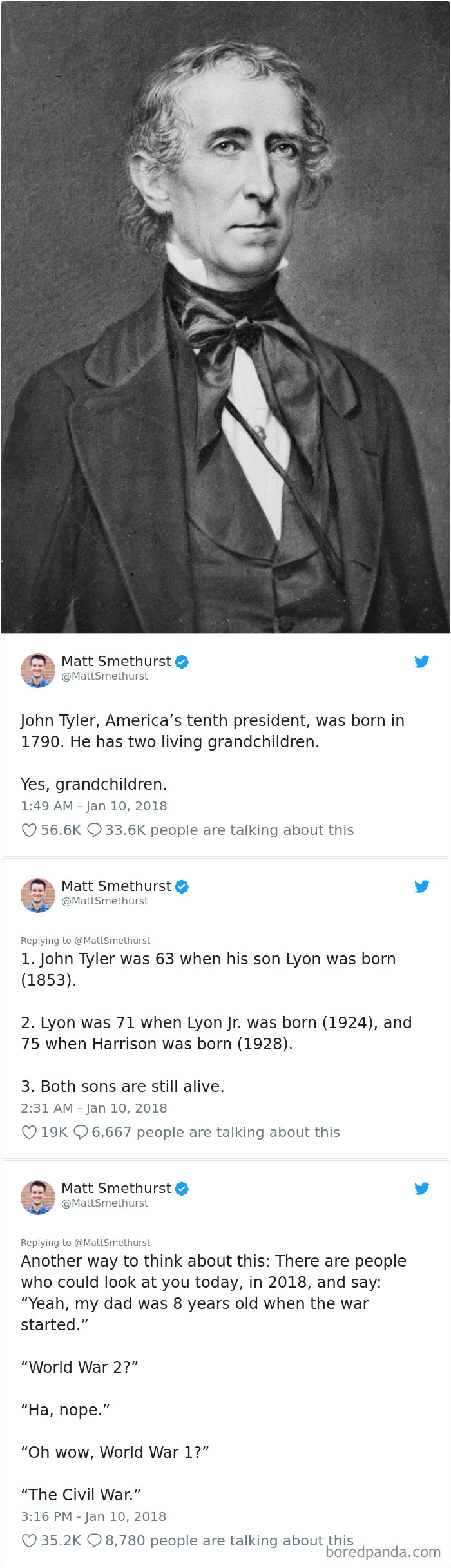John Tyler, America's Tenth President, Was Born In 1790. He Has Two Living Grandchildren. So This Means...