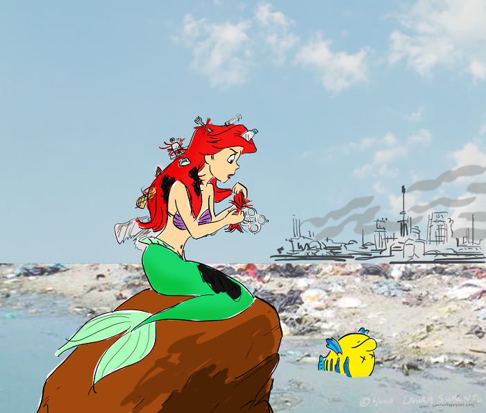 This Is How I Picture Ariel Dealing With Plastic