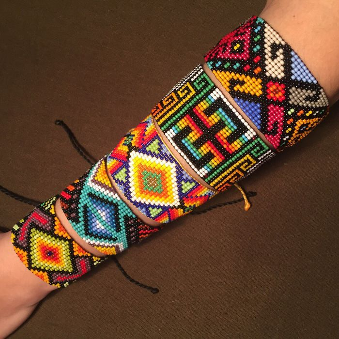 I Make Bracelets From Colorful Beads With A Pattern Of Indians Of Latin America