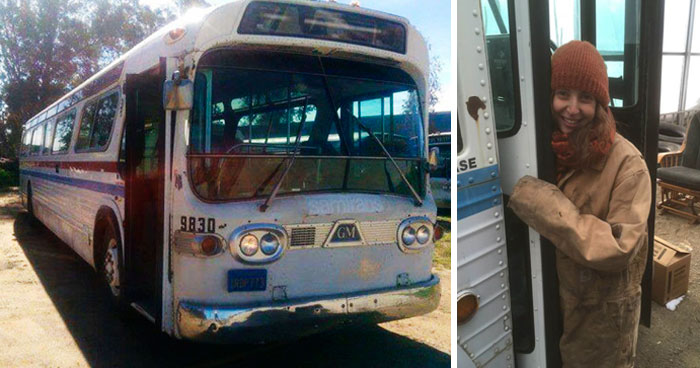Woman Spends 3 Years Converting Old Bus Into Mobile Home, And It Looks Better Than Most Apartments