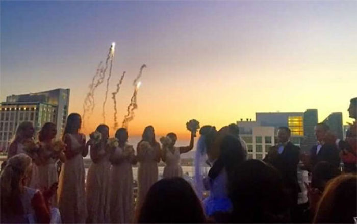 Friends Of Mine Got Married Overlooking The San Diego Padres Stadium. At The Exact Moment The Minister Said