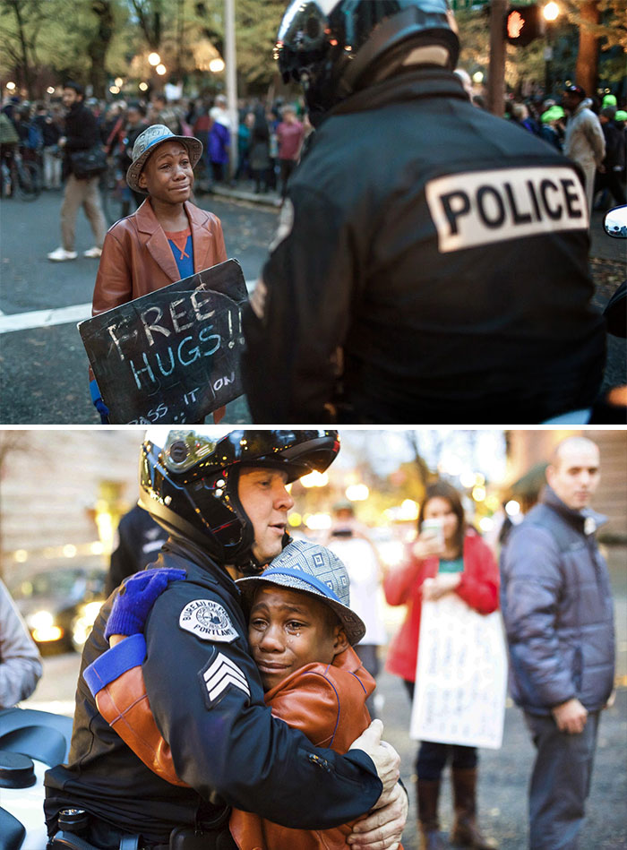 12-Year Old Boy, Hugging A Police Officer At A Ferguson Protest In Portland