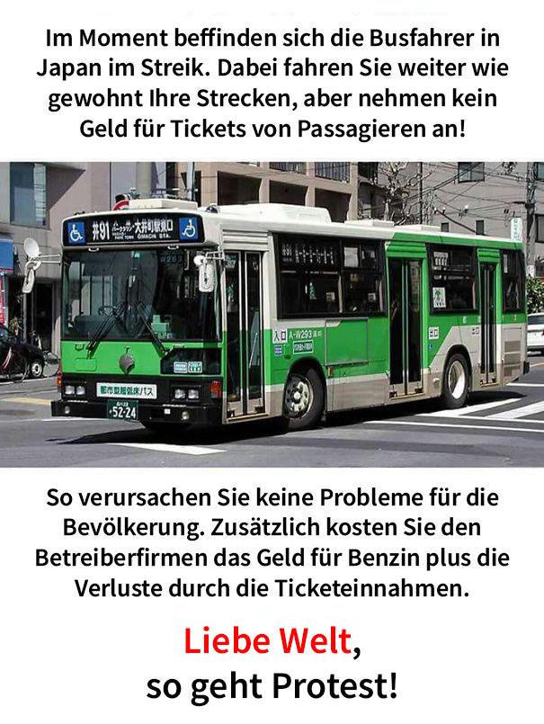 Wenn Busfahrer in Japan streiken fahren Sie Ihre Linie trotzdem aber akzeptieren keine Ticketgebühren