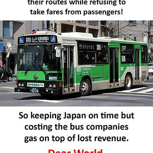 Bus Drivers In Japan Were On Strike But Continued Driving Their Routes While Refusing To Take Fares From Passengers