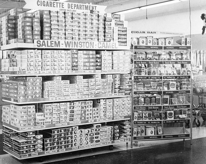 Cigarette And Cigar Displays (Camel, L&M, Etc...) At Clark's, A Grocery, Drug, Sundries, And Department Store And Lunch Counter, Charlotte, NC, 1962 Or 1963