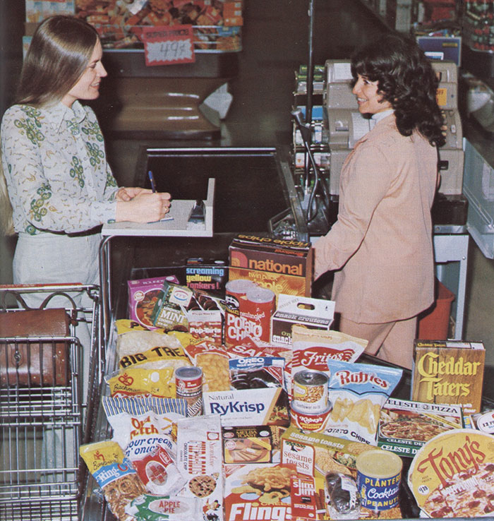 Vintage Trade Ad With Ruffles Potato Chips, Flings, Etc. At A Checkout