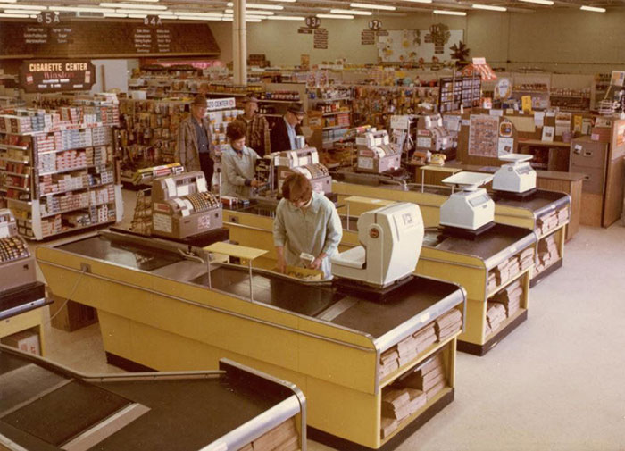 Interior de Northland Foods, Thief River Falls, MN, en los años 70