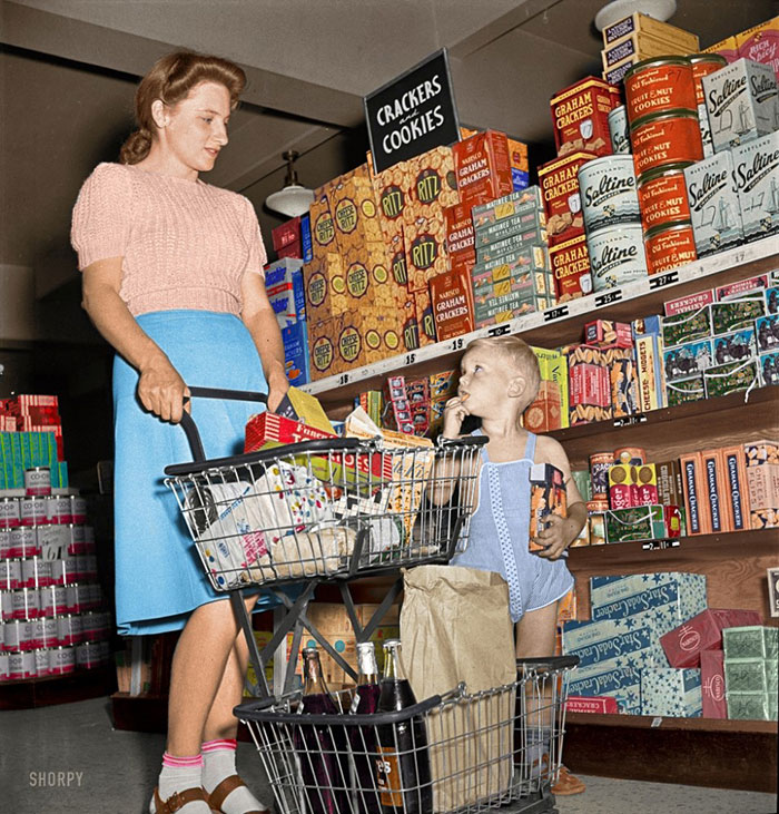 Shopping In The Cooperative Grocery Store, Greenbelt, Maryland, 1942 (Colorized)