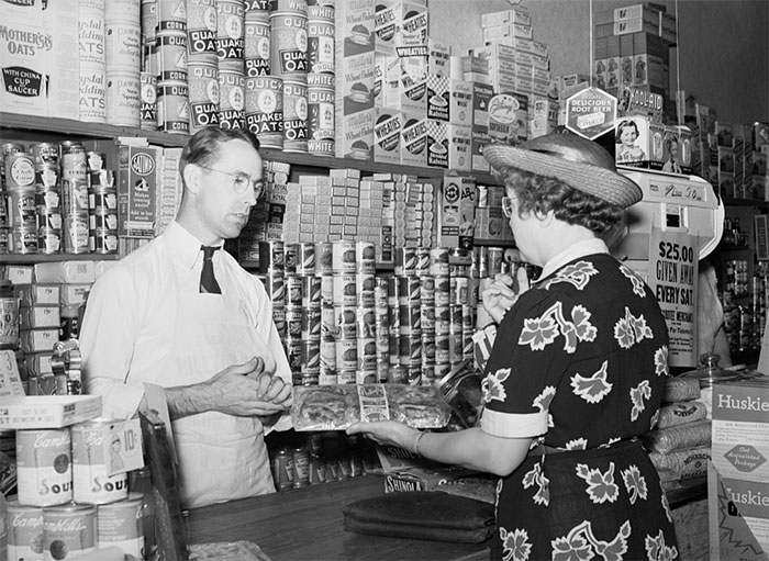 Buying Groceries In Store At Blankenship, Indiana, 1938