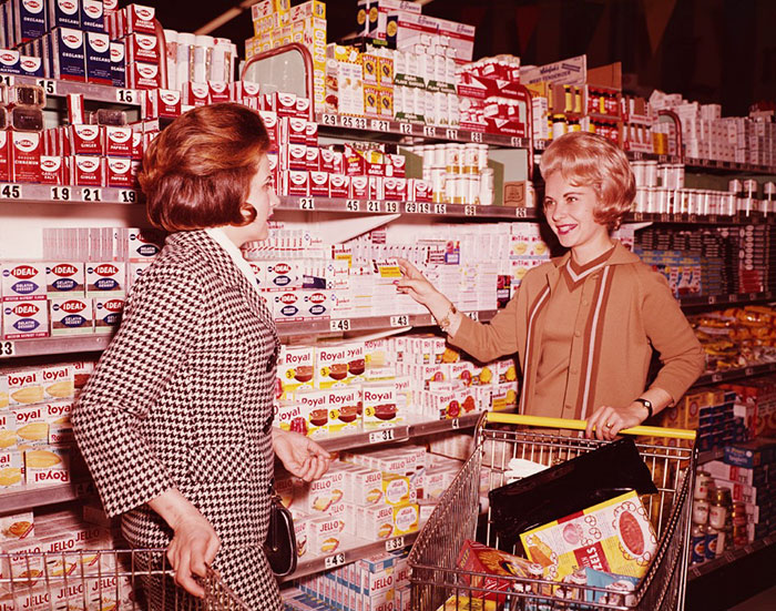 Two Women Shopping In An American Supermarket, Circa 1970