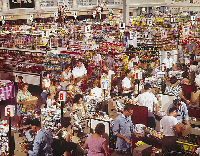El supermercado súper gigante en Rockville, Maryland, 1964