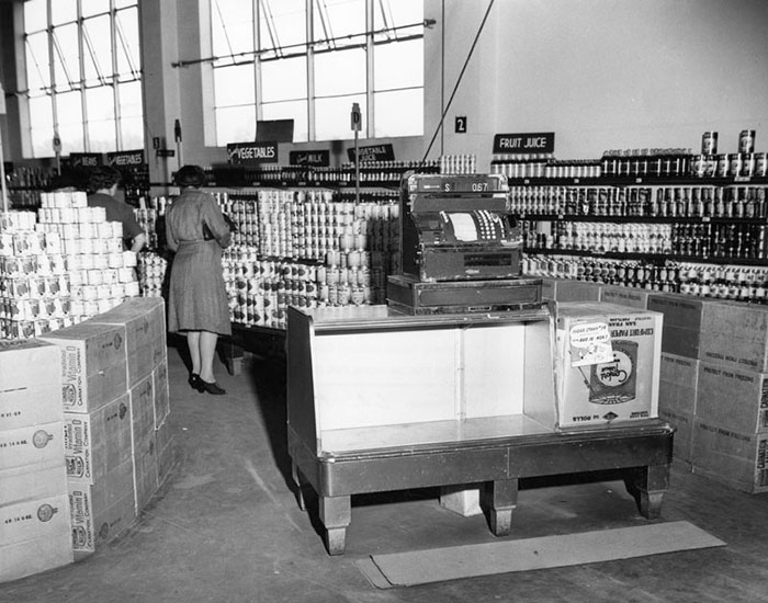 Interior View Of A Ralphs Grocery Store At An Unknown Location In Los Angeles In November 1943, Showing The Check-Out Counter And Cash Register