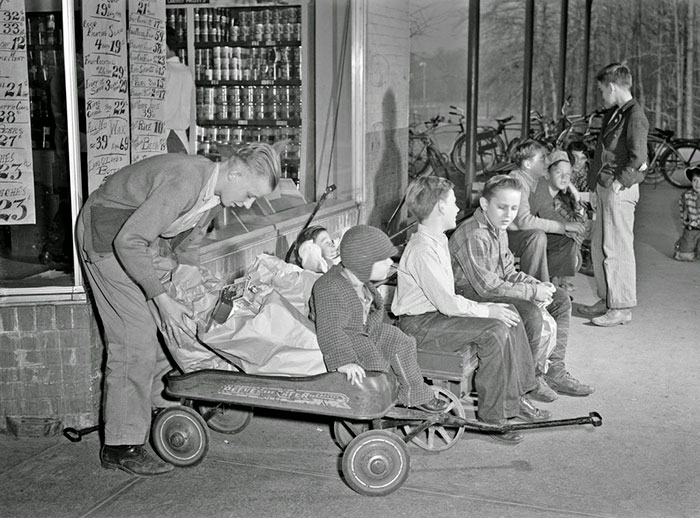 Delivery Vans, 1942 Style, Line Up Outside A Greenbelt, Maryland, Grocery Store Awaiting Customers