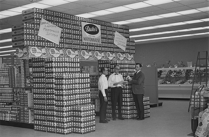Duke's Mayonnaise Jars Assembled In A Display At Cozart's Grocery Store, 1965