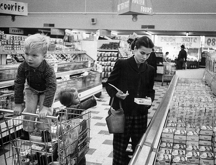 Working Mother Jennie Magill Shopping With Her Children At The Super Market, 1956