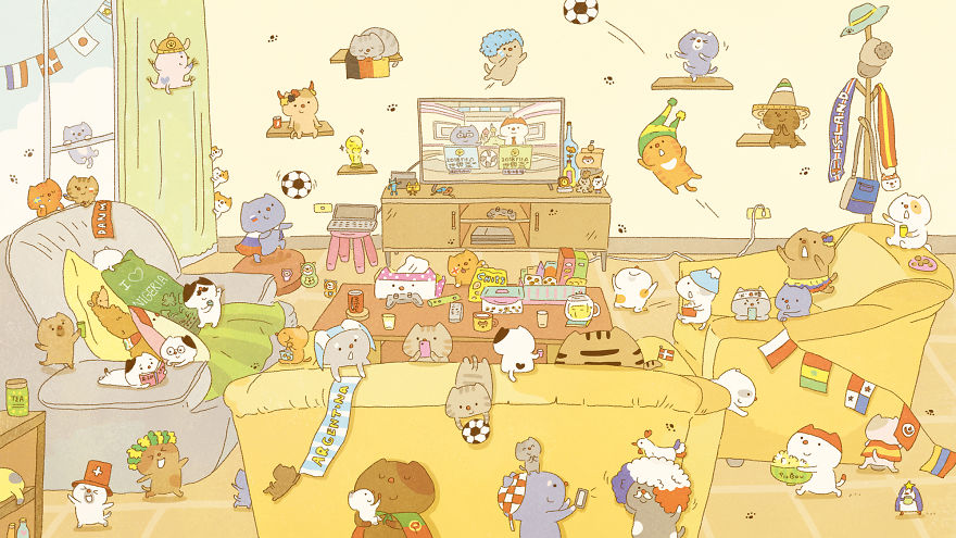 Can You Find All The Cats Watching The World Cup Which I Hid In My Drawing?