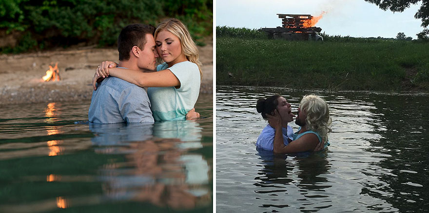 10+ Photos Of Bridal Party's Hilarious Attempt To Recreate Couple's Engagement Photos!