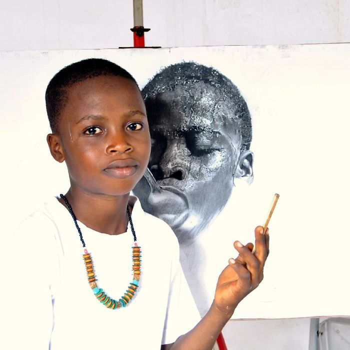 11-Year-Old Kid From Nigeria Creates Hyperrealistic Drawings, And The Result Will Blow Your Mind