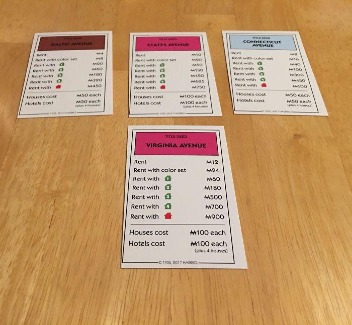Las cartas del Monopoly están mal cortadas y así no hay quien se centre en el juego