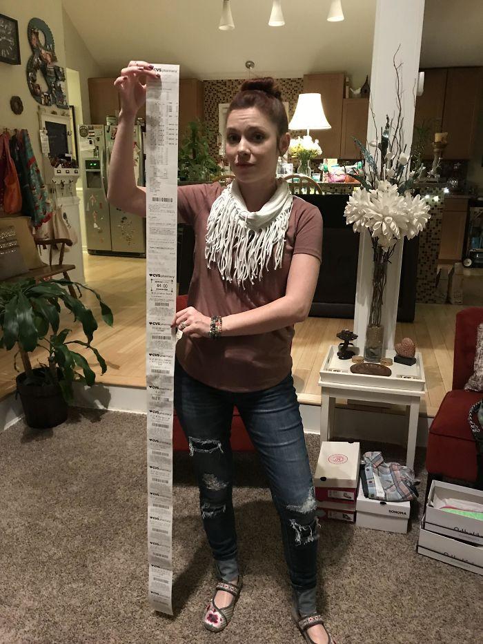 CVS Receipt That Is Taller Than My Wife