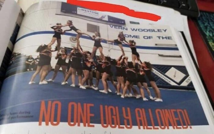 Local Highschool Put This In Their Yearbook In The Cheerleading Section