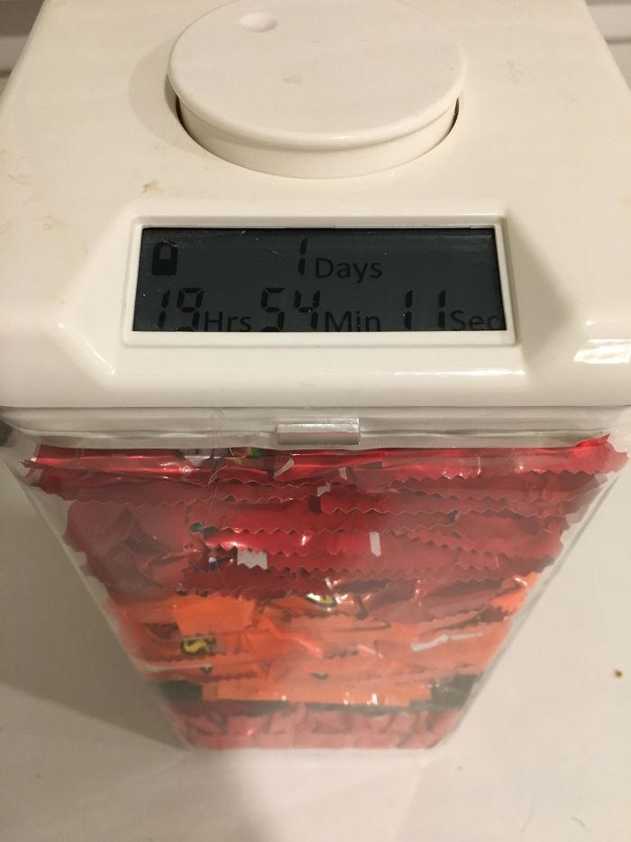 My Wife Put Our Candy In A Locked Container With A Timer On It So I Can't Have Any Before Halloween