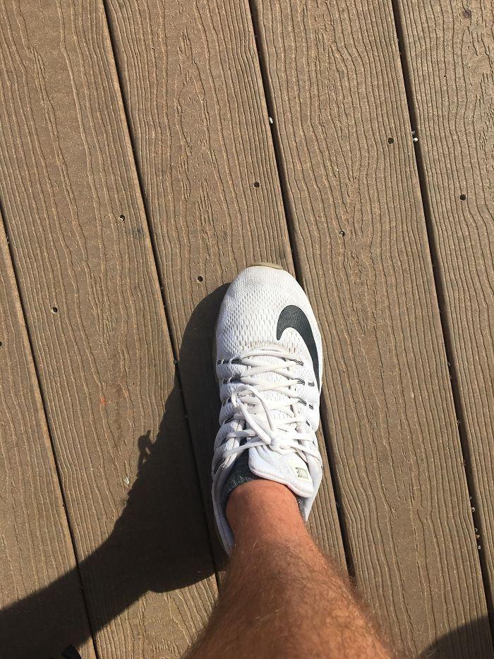 My Shoe Lace Shadow Looks Like A Man Climbing A Mountain