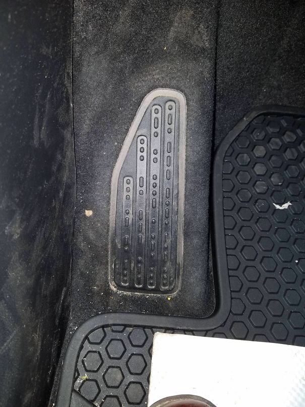 "The Footrest In My New Jeep Says ""Sand Snow Rivers Rocks"" In Morse Code"