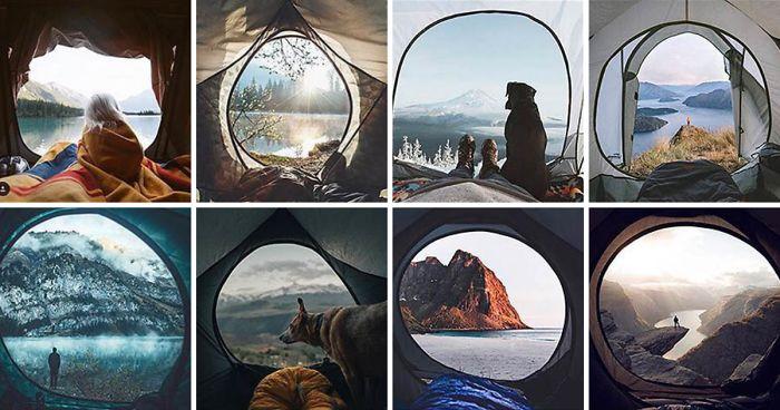 Jemand zeigt, dass die Fotos auf Instagram alle gleich aussehen